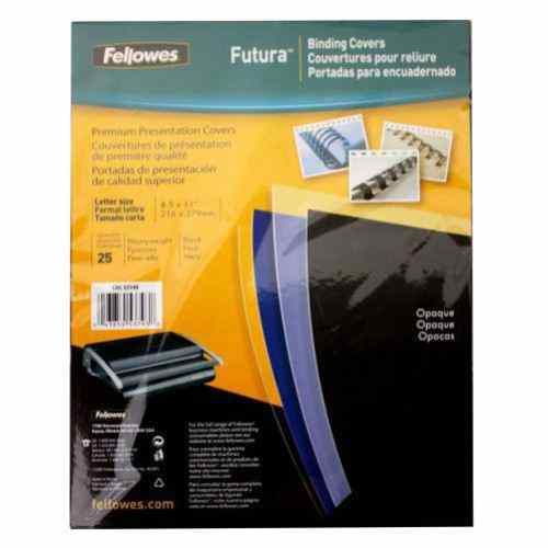 Fellowes Futura Black Letter Size Binding Covers 25pk (5224901) Image 1