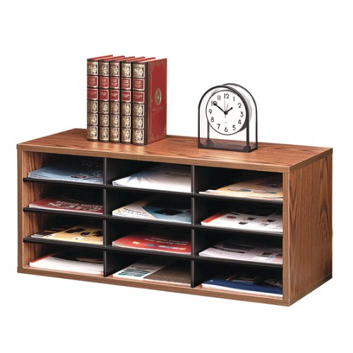 Fellowes Literature Organizer - 12 Compartment Sorter (Medium Oak) (FEL-25400) Image 1