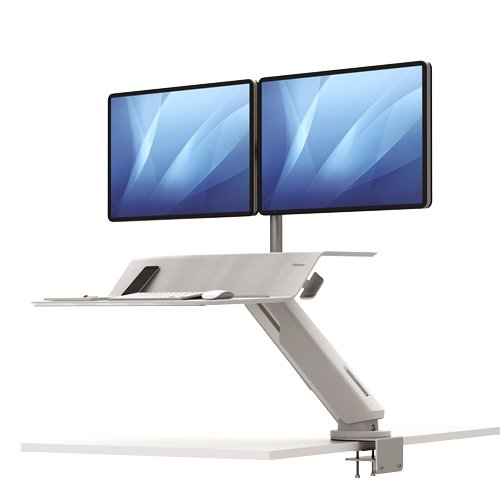 Fellowes Lotus RT White Dual Display Sit-Stand Workstation (8081801) Image 1