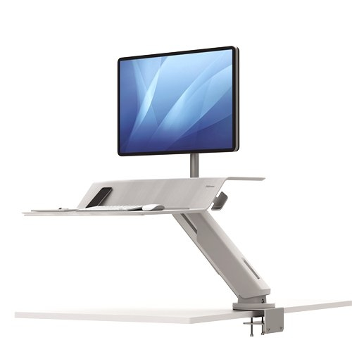 Fellowes Lotus RT White Single Display Sit-Stand Workstation (8081701) Image 1