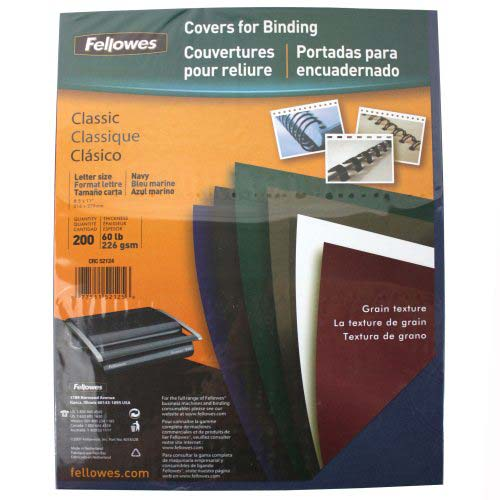 Fellowes Navy Grain Letter Size Binding Covers 200pk (52125) Image 1