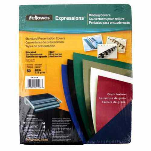 Fellowes Navy Grain Oversize Binding Covers 50pk (52126) Image 1