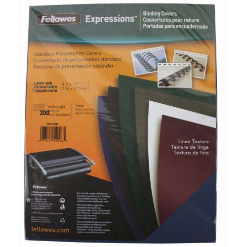Fellowes Navy Linen Letter Size Binding Covers 200pk (52098) Image 1
