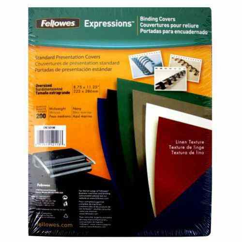 Fellowes Navy Linen Oversize Binding Covers 200pk (52113) Image 1