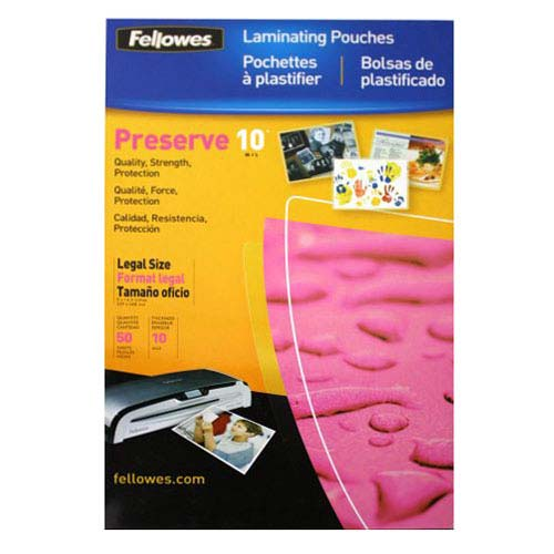 Fellowes Premium 10mil Legal Size Laminating Pouches 50pk (52047) Image 1