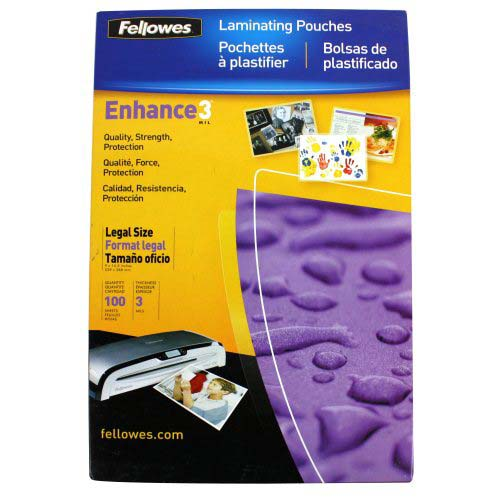 Fellowes Premium 3mil Legal Size Laminating Pouches 100pk (52455) Image 1