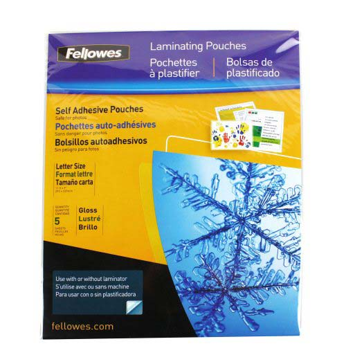 Fellowes Self Adhesive Letter Size Laminating Pouches 5pk (52205) Image 1