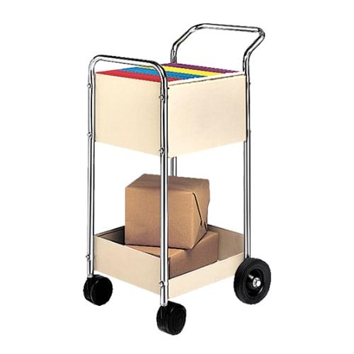 Fellowes Two-Shelf Steel Mini Mail Cart (Chrome) (40924) Image 1