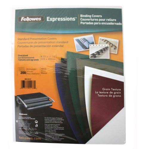 Fellowes White Grain Oversize Binding Covers 200pk (52137) Image 1