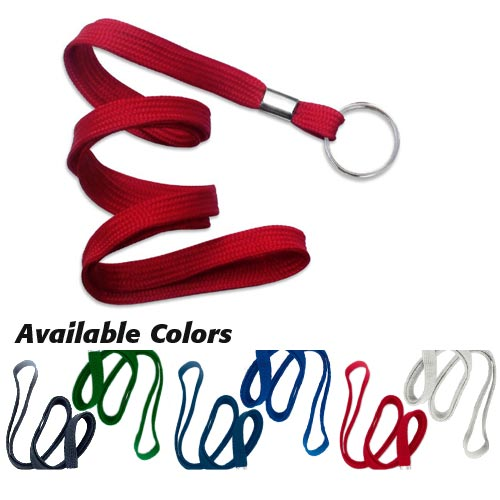 "Flat Lanyard with Ring - 3/8"" - 100pk (MYR38FL) Image 1"