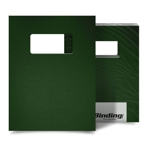 "Forest Green 16mil Sand Poly 9"" x 11"" Binding Covers with Windows - 25 Sets (MYMP169X11FGW) Image 1"
