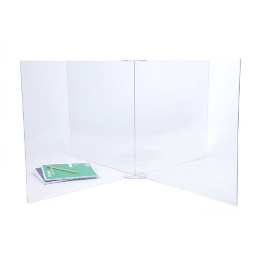 "Four-Way Divider Clear Acrylic Safety Barrier / Sneeze Guard - 47.75"" x 47.75"" x 23.75"" (97PPESG4WAY15) Image 1"