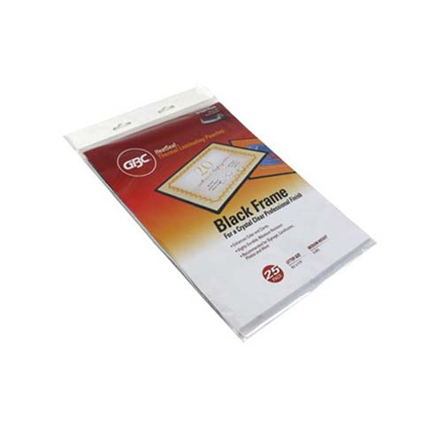 GBC HeatSeal Ultra Clear 5mil Black Framed Letter Size Laminating Pouches 25pk (3747190) Image 1