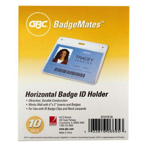 GBC Badgemates Clear Horizontal Badge Holders 10pk (3747219) Image 1
