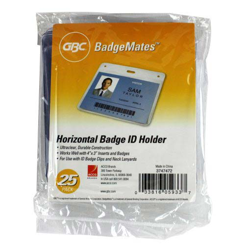 GBC Badgemates Clear Horizontal Badge Holders 25pk (3747472) Image 1