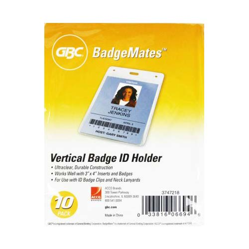 GBC Badgemates Clear Vertical Badge Holders 10pk (3747218) Image 1