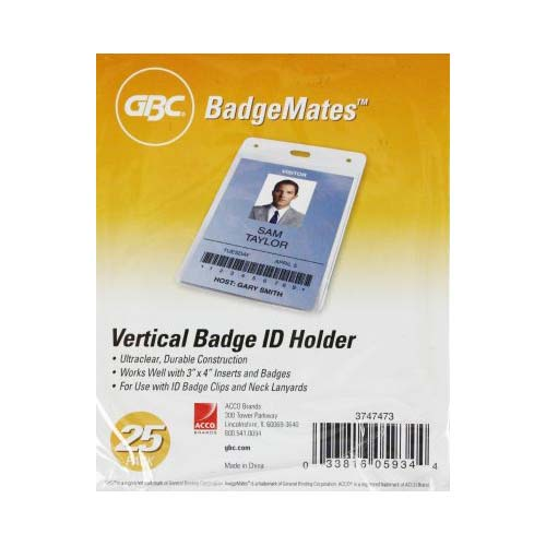 GBC Badgemates Clear Vertical Badge Holders 25pk (3747473) Image 1