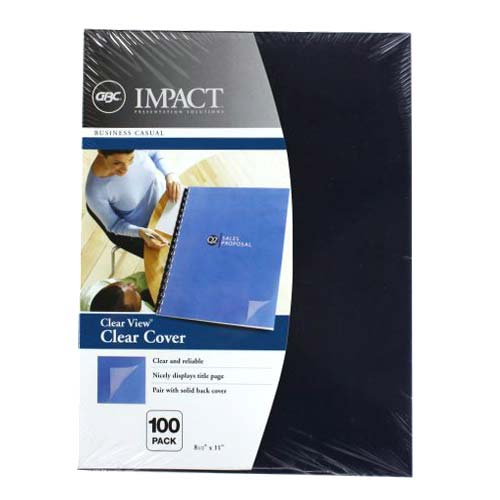 "GBC Clear View 8.5"" x 11"" Presentation Covers 100pk (2020034) Image 1"