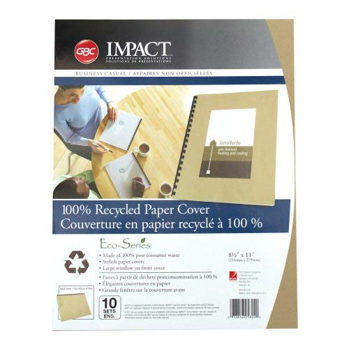 GBC ECO Friendly Brown Recycled Paper Covers 20pk (25824)