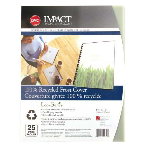 GBC ECO Friendly Frost Recycled Poly Covers 25pk (25817) Image 1