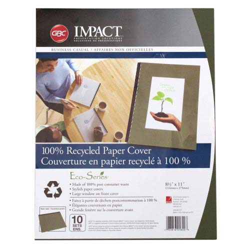 "GBC ECO Friendly Green Recycled 8.5"" x 11"" Paper Binding Covers 10 Sets (25822) Image 1"