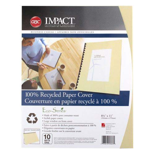 GBC ECO Friendly Tan Recycled Paper Covers 20pk (25823) Image 1