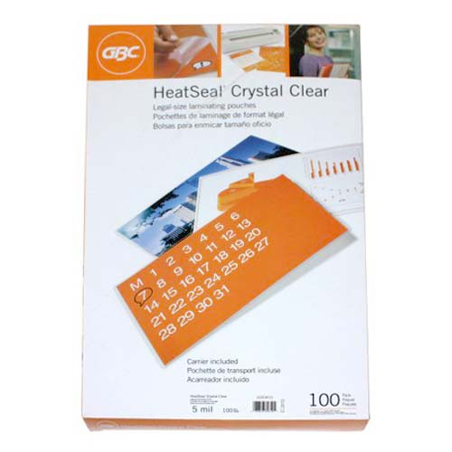 GBC HeatSeal 5 Mil Crystal Clear Legal Size Pouches 100pk - 3201040 (3200410) Image 1