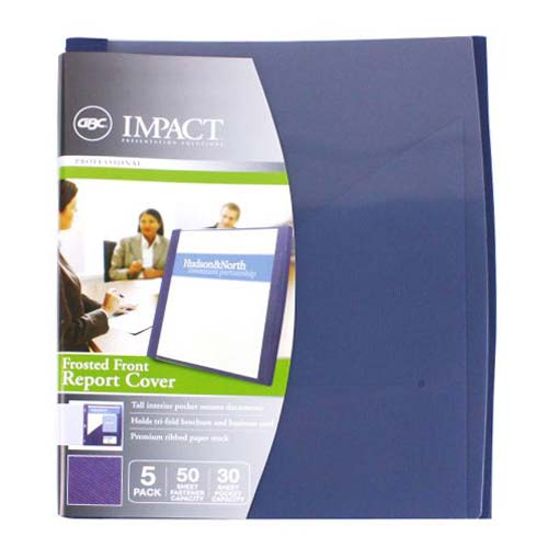 GBC Impact Frosted Front Navy Blue Two Pocket Report Cover (W71111) Image 1