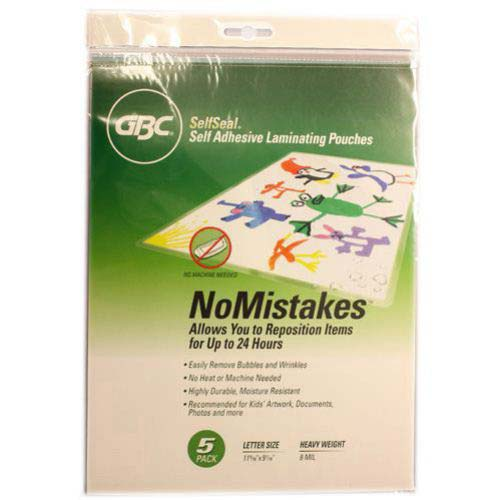 GBC SelfSeal NoMistakes Letter Size Repositionable Laminating Pouches 5pk - T (3747428)