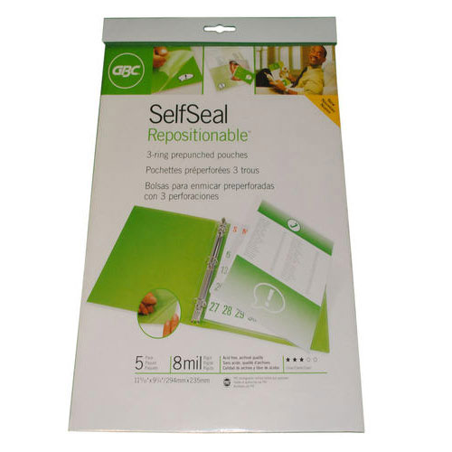 GBC SelfSeal Repositionable 3-ring Prepunched Pouches - 5pk (3747194-FBA), Pouches Image 1