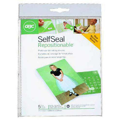 "GBC SelfSeal Repositionable 5"" x 7"" Gloss Photo Pouches 5pk (3747221) - $3.69 Image 1"
