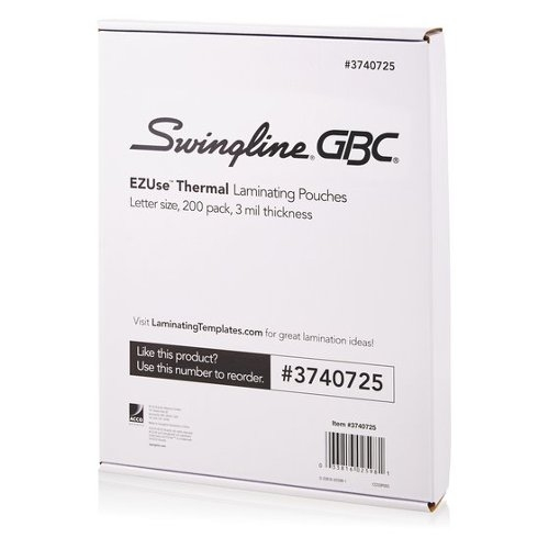 GBC Swingline EZUse 3mil Letter Size Thermal Laminating Pouches 200pk (3740725)