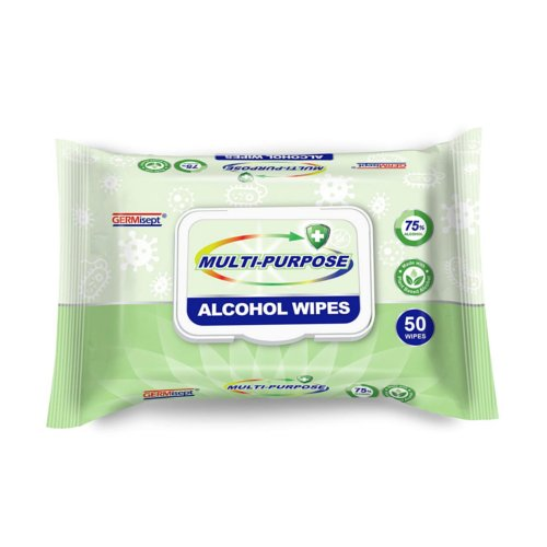 GERMisept Multi-Purpose Alcohol Wipes - 50 Wipes Per Pack (MIS-AW50) Image 1
