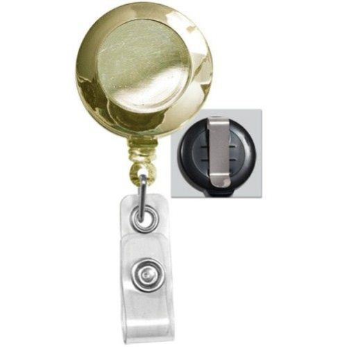 Gold Round Badge Reel with Belt Clip - 25pk (2120-3035) Image 1