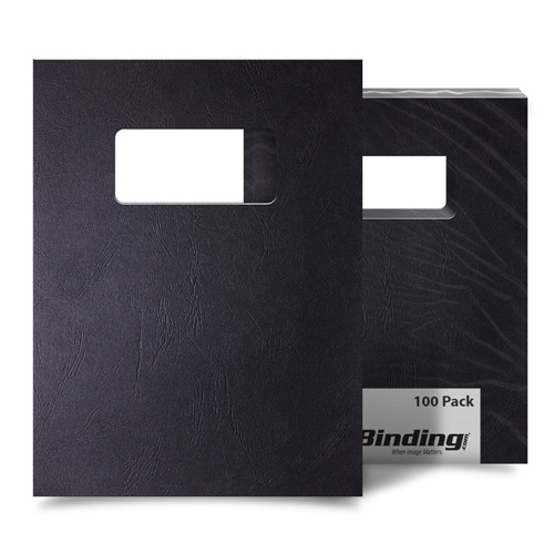 Black Grain 9 x 11 Index Allowance Binding Covers With Windows - 100 Sets (MYGR9X11BKW) Image 1