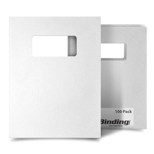 White Grain 8.5 x 11 Letter Size Covers With Windows - 100 Sets (MYGR8.5X11WHW) Image 1