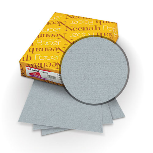"Neenah Paper Classic Linen Graystone 8.75"" x 11.25"" 80lb Covers with Windows - 25 Sets (MYCLINGSW8.75X11.25) Image 1"
