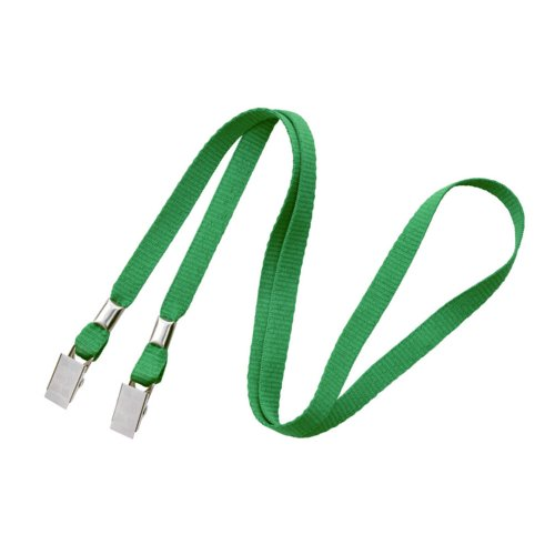 "Green 3/8"" Flat Open Ended Lanyard with Two Bulldog Clips - 100pk (2140-5304) Image 1"