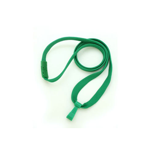 Green Breakaway Lanyard with Twist-Free Wide Plastic Hook - 3/8