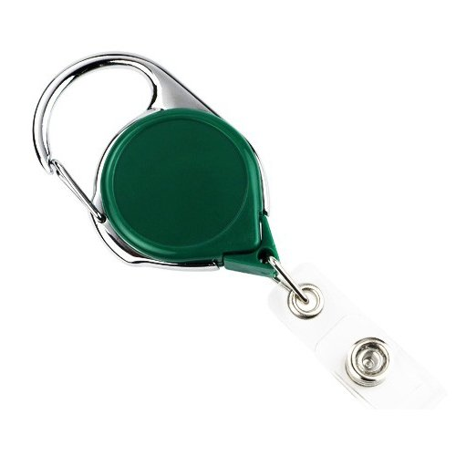 Green Carabiner Badge Reel with Clear Vinyl Strap - 25pk (704-CB-GRN), Id Supplies Image 1