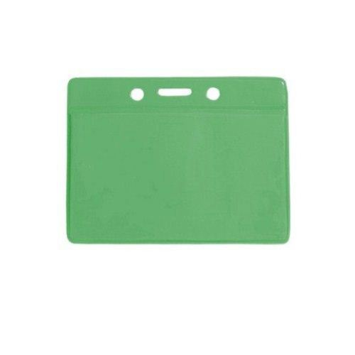 Green Credit Card Size Horizontal Colored Back Badge Holders - 100pk (1820-2004) Image 1