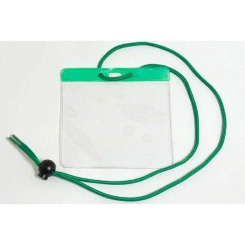 Green Extra Large Color Bar Badge Holders with Neck Cords - 100pk (1860-2904) Image 1