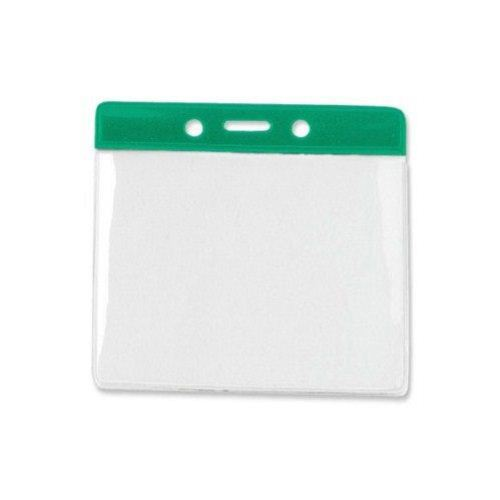 Green Extra Large Horizontal Color-Bar Badge Holders - 100pk (1820-1204) - $30 Image 1
