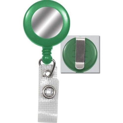 Green Reinforced Badge Reel w Silver Sticker and Belt Clip - 25pk (2120-3104), MyBinding brand Image 1