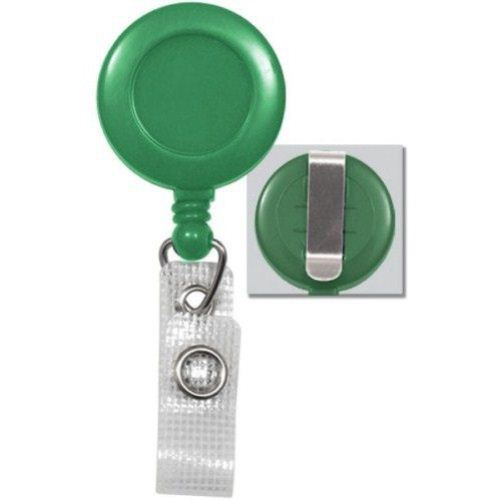 Green Round Badge Reel with Belt Clip and Reinforced Strap - 25pk (2120-3004) Image 1