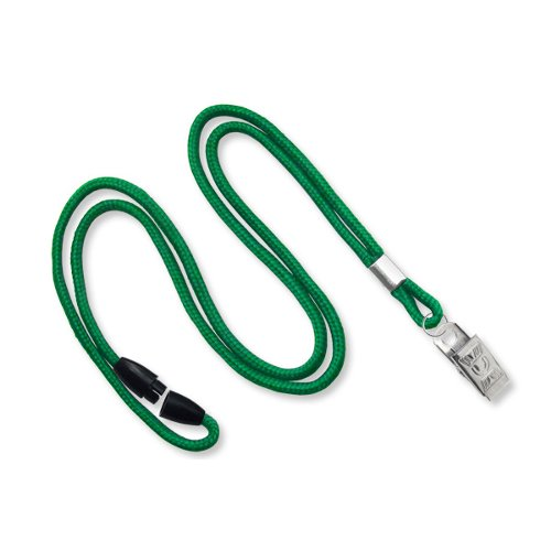 Green Round Braid Break-Away Lanyard with NPS Bull Dog Clip - 100pk (MYID21372014), MyBinding brand Image 1