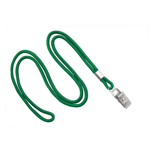 "Green Round Cord Lanyard with Clip - 1/8"" - 100pk (MYIDNL7CGRN) Image 1"