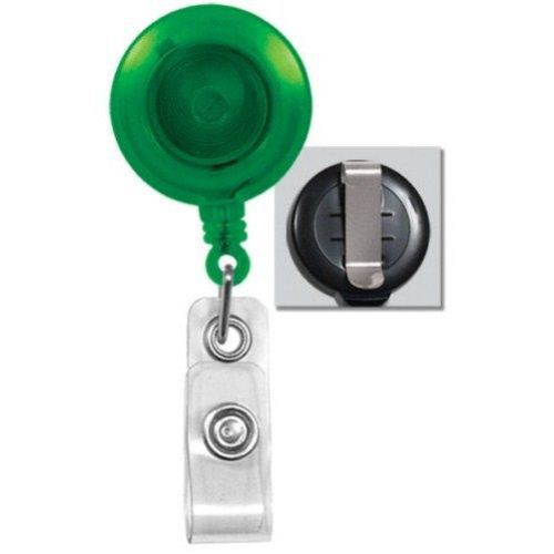 Green Translucent Round Badge Reel with Belt Clip - 25pk (2120-3604), MyBinding brand Image 1
