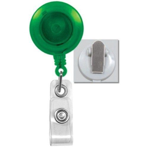 Green Translucent Round Badge Reel with Spring Clip - 25pk (2120-4734), MyBinding brand Image 1