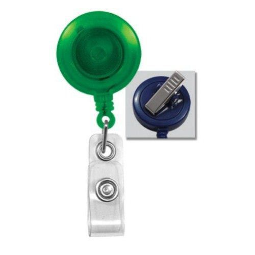 Green Translucent Round Badge Reel with Swivel Clip - 25pk (2120-7624), MyBinding brand Image 1